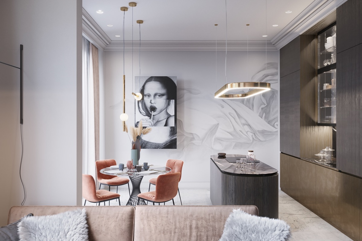 Trong căn hộ 45m2 này, bếp nấu và phòng ăn được gói gọn trên một mặt sàn nhỏ gọn. Đèn thả trần và bộ ghế màu cam đất tạo điểm nhấn cực hút mắt.