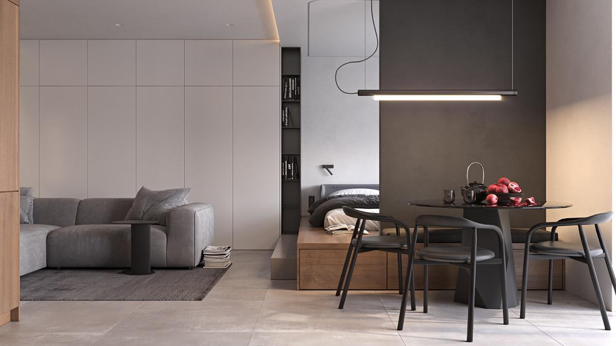 """Bạn cũng có thể xác định khu vực ăn uống trong căn hộ bằng một """"bức tường"""" điểm nhấn - bất kể chúng nhỏ như thế nào."""