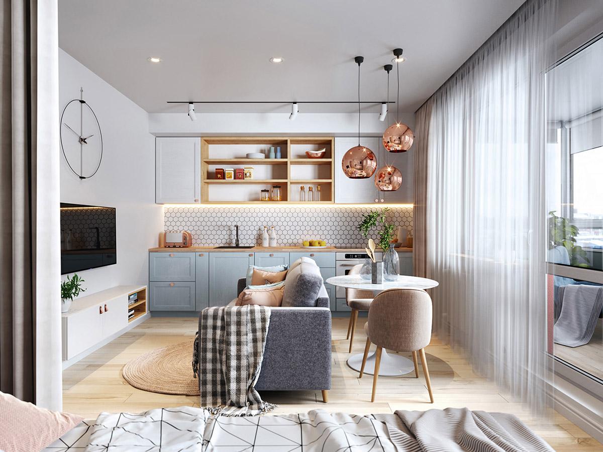 Bằng cách di chuyển ghế sofa ra giữa sàn, một khu vực ăn uống gọn xinh dành cho hai người được tạo ra ngay phía sau lưng ghế.