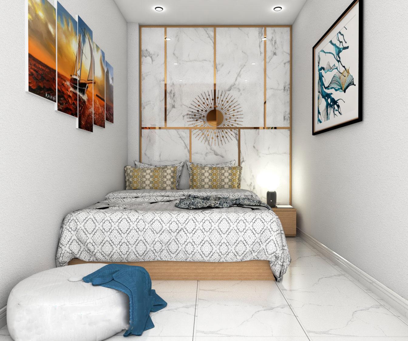 Phòng ngủ nhỏ 10m2 chỉ đủ bố trí giường ngủ, rất hạn chế các món đồ nội thất, trang trí.