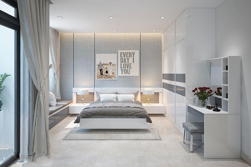 Thiết kế nội thất phòng ngủ diện tích 20m2 theo phong cách hiện đại.