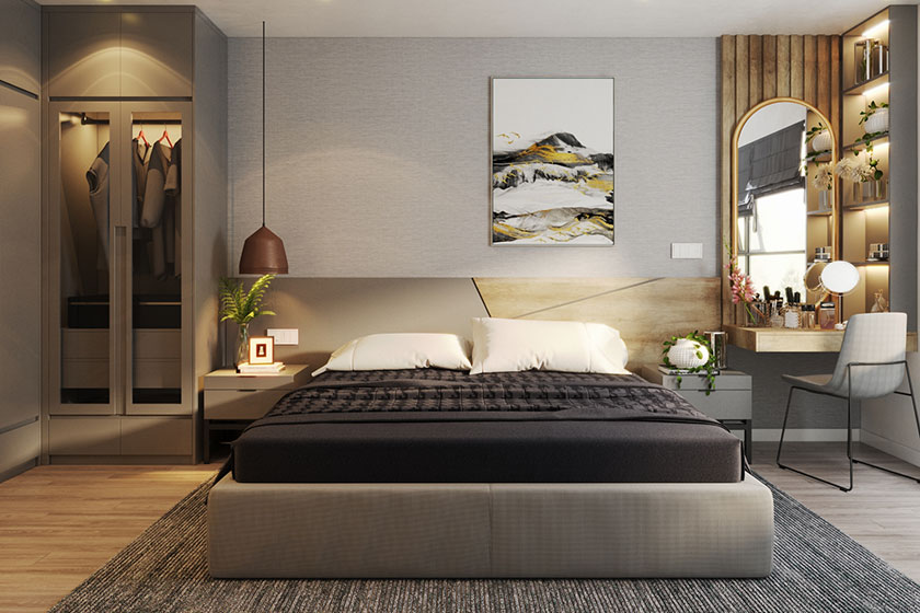 Nội thất phòng ngủ căn hộ nhỏ được thiết kế theo phong cách hiện đại, sang trọng.