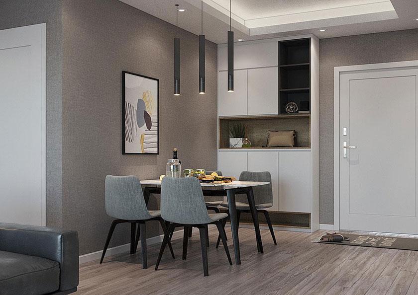 Phòng ăn nhỏ gọn với bộ bàn ghế kiểu dáng hiện đại, tinh tế.