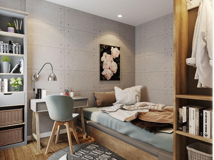 ẫu phòng ngủ nhỏ xinh, tiện nghi trong căn hộ chung cư 80m2.