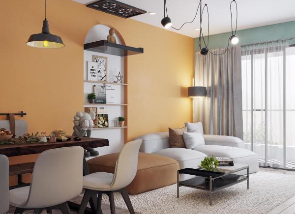 Phong cách hiện đại - cổ điển phối kết ăn ý trong phòng khách căn hộ 100m2.
