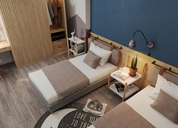 Phòng ngủ căn hộ hiện đại với sắc nâu - trắng tạo cảm giác thư giãn, dễ chịu.
