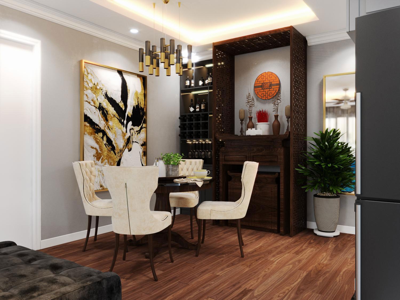 Mẫu thiết kế phòng ăn phong cách tân cổ điển trang trọng, thanh lịch.