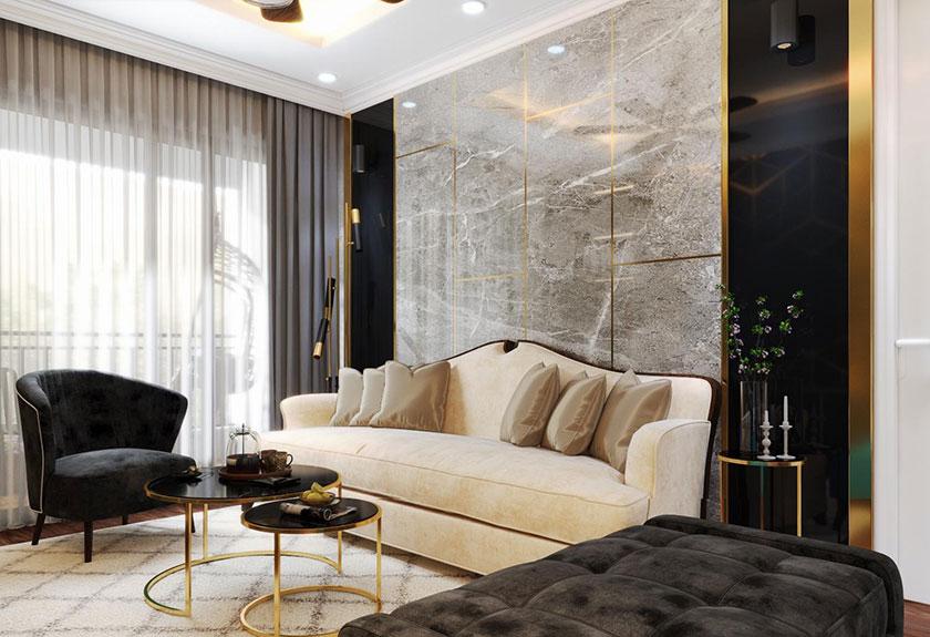 Phòng khách căn hộ chung cư cao cấp gây ấn tượng bởi bộ ghế sofa giường thông minh.