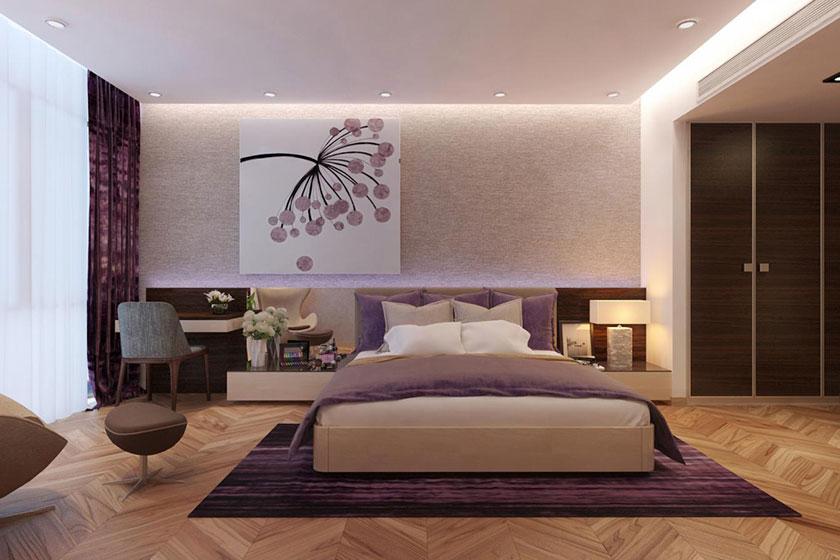 Mẫu thiết kế nội thất phòng ngủ rộng rãi dành cho cô con gái lớn với tông màu tím oải hương nhẹ nhàng, lãng mạn.
