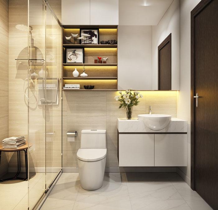 Trong nhà phố 2 tầng, phòng tắm - vệ sinh hiện đại, sạch sẽ và thoáng gọn.