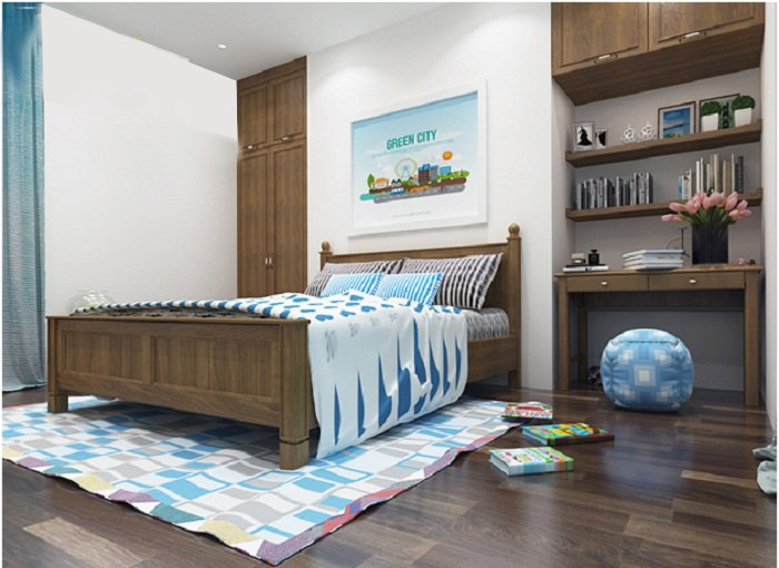 Phòng ngủ cho cậu con trai út có thiết kế đơn giản với sắc xanh dương tạo điểm nhấn trẻ trung, sinh động trên nền trắng và nâu gỗ chủ đạo.