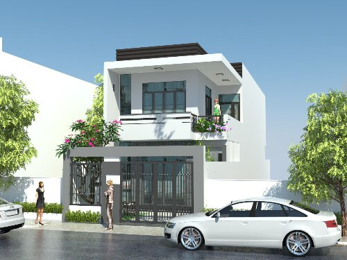 Phối cảnh 3D mẫu nhà phố 2 tầng phong cách hiện đại