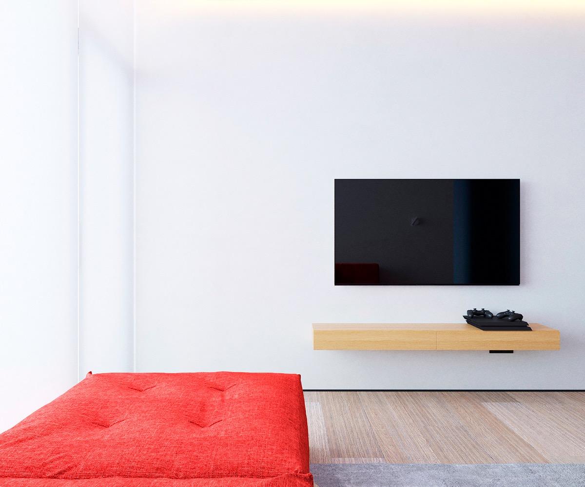 Không gian sống trong căn hộ 64m2 ngập tràn ánh sáng tự nhiên nhờ hệ cửa sổ kính trong suốt cao từ sàn tới trần nhà.