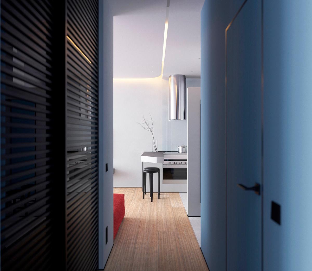 Hành lang căn hộ nhỏ tạo cảm giác thư giãn, dễ chịu với tông màu xanh lam nhẹ nhàng.