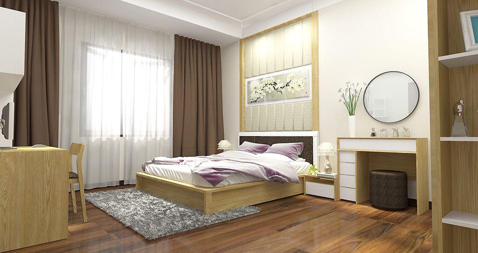 Không gian riêng tư dành cho hai vợ chồng được bài trí theo phong cách truyền thống với nội thất gỗ màu sáng ấm áp, cửa sổ kính cao rộng, tủ kệ lưu trữ thoải mái.
