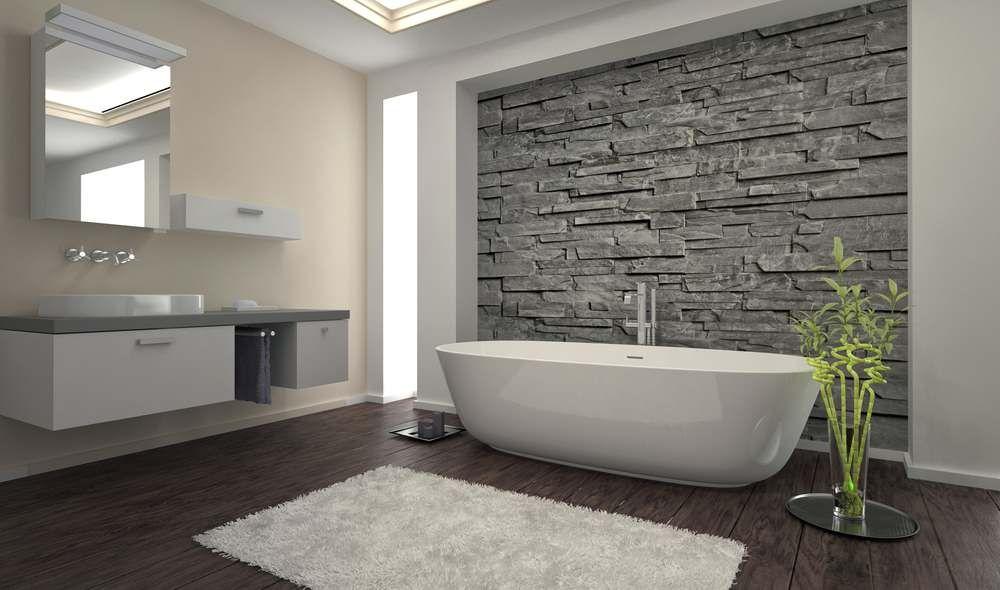 Bạn có thể tạo bức tường điểm nhấn bằng đá tự nhiên - hiện đại và bóng bẩy.