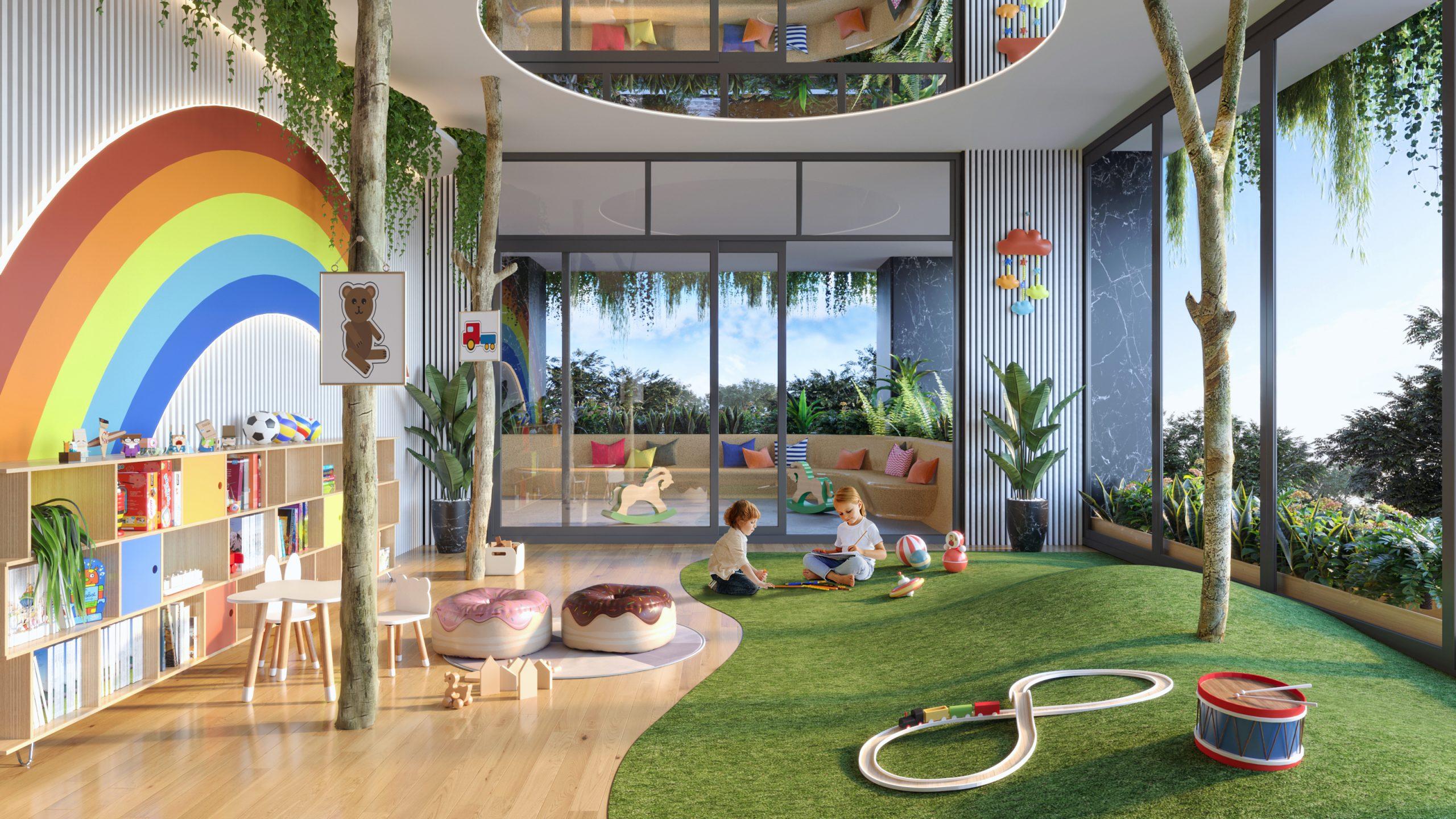 Không gian vui chơi trẻ em được bài trí thông thoáng và ấn tượng