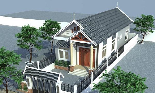 Phối cảnh 3D mẫu nhà cấp 4 mái Thái hiện đại