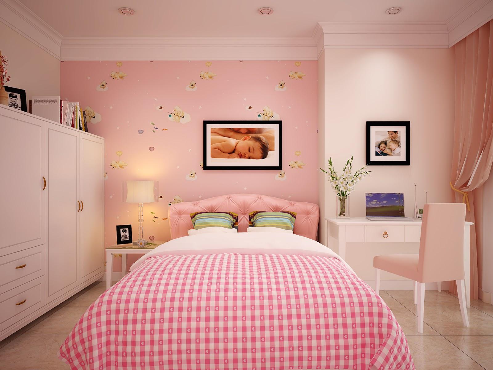 Sắc hồng kẹo ngọt luôn khiến các cô nàng thích mê. Phòng ngủ sử dụng nội thất may đo vừa vặn hoàn toàn với diện tích phòng.