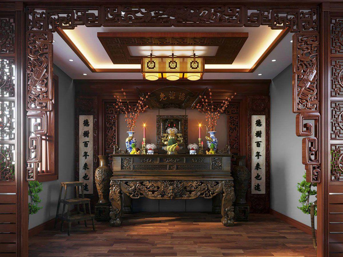 Phòng thờ được thiết kế theo phong cách truyền thống với nội thất gỗ tự nhiên chủ đạo, chạm khắc tinh xảo tạo cảm giác linh thiêng.