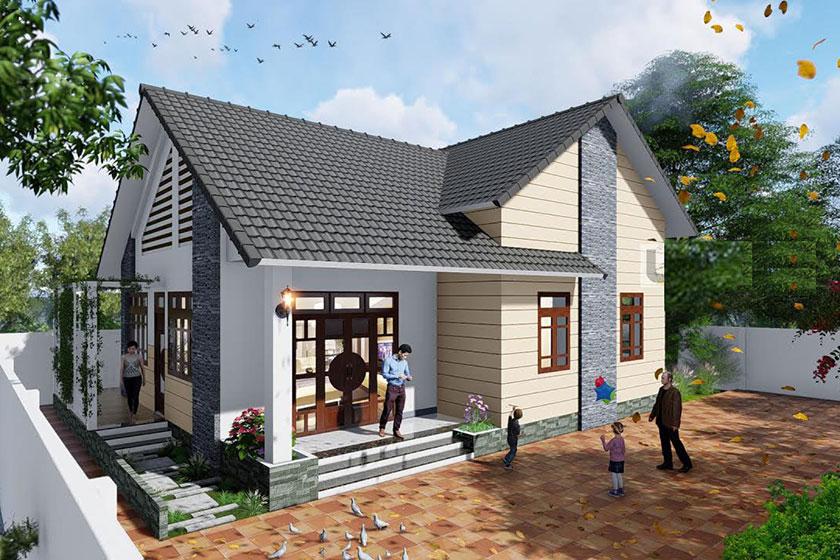 Phối cảnh 3D mẫu nhà vườn 1 tầng phong cách hiện đại