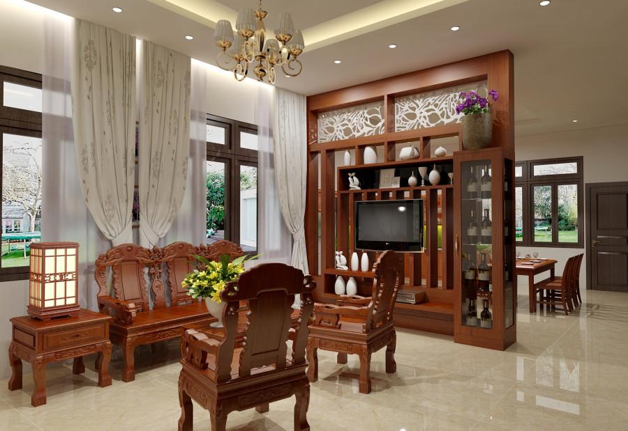 Nếu bạn yêu thích phong cách nội thất truyền thống cho ngôi nhà vườn của mình, có thể tham khảo mẫu thiết kế phòng khách này.