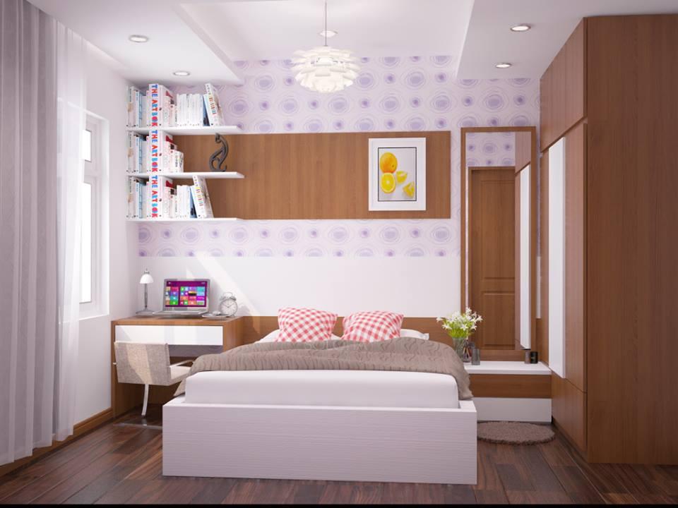 Phòng ngủ dành cho cô con gái lớn với đầy đủ nội thất thiết yếu. Bàn trang điểm đầu giường tích hợp chức năng làm việc tại nhà.
