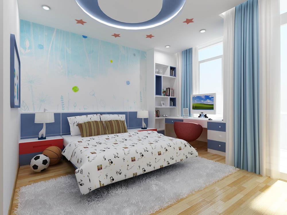 Không gian riêng tư của cậu con trai được bài trí theo sở thích của trẻ, với tông màu xanh lam nhẹ nhàng, thanh lịch.