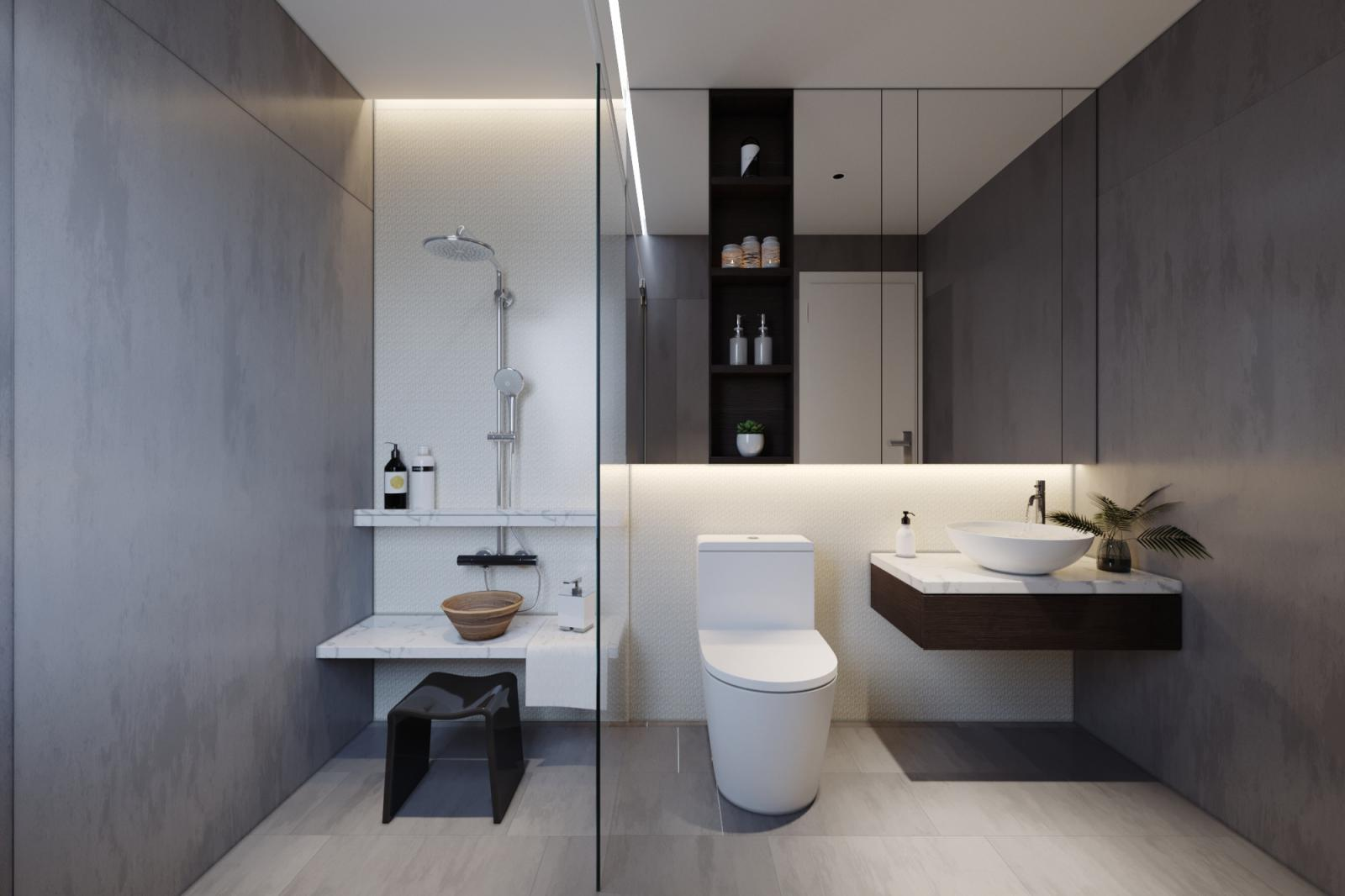 Trong nhà vườn 1 tầng, phòng tắm - vệ sinh được tách làm 2 khu vực bởi vách kính trong suốt, vừa đảm bảo sự khô thoáng, vừa riêng tư thiết yếu.