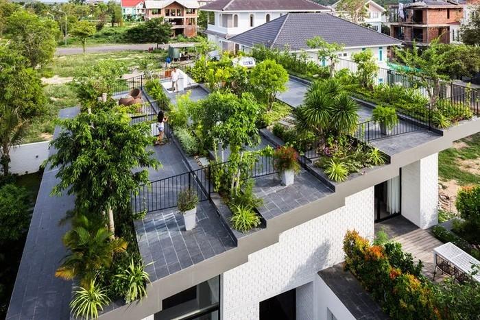 Trồng cây trên sân vườn sân thượng không nên quá um tùm, rậm rạp, cần có khoảng cách nhất định và lối đi thông thoáng.
