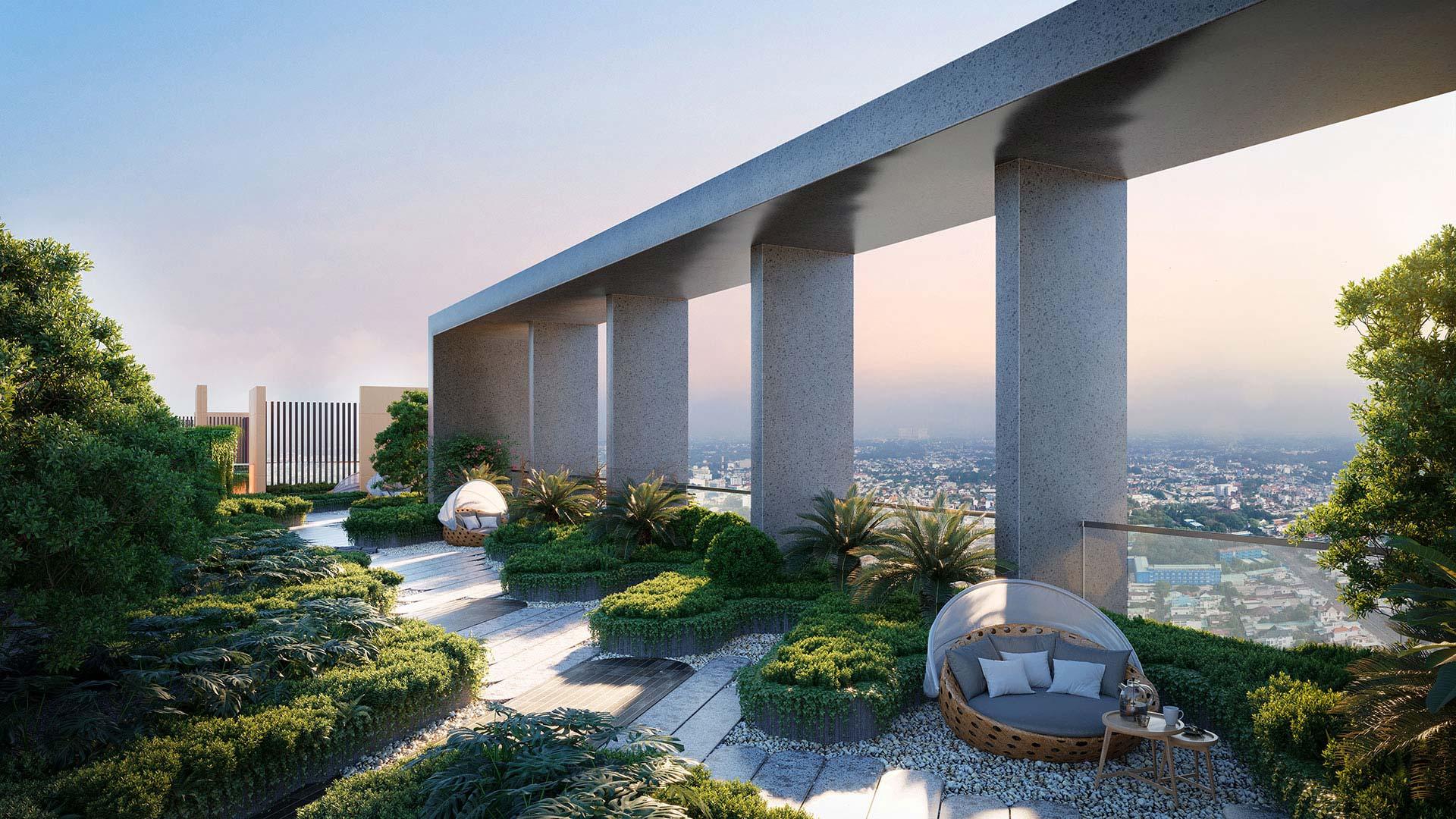 Một góc hệ sinh thái được thiết kế theo phong cách Singapore ngay trên tầng mái thứ 40 của Happy One – Central.