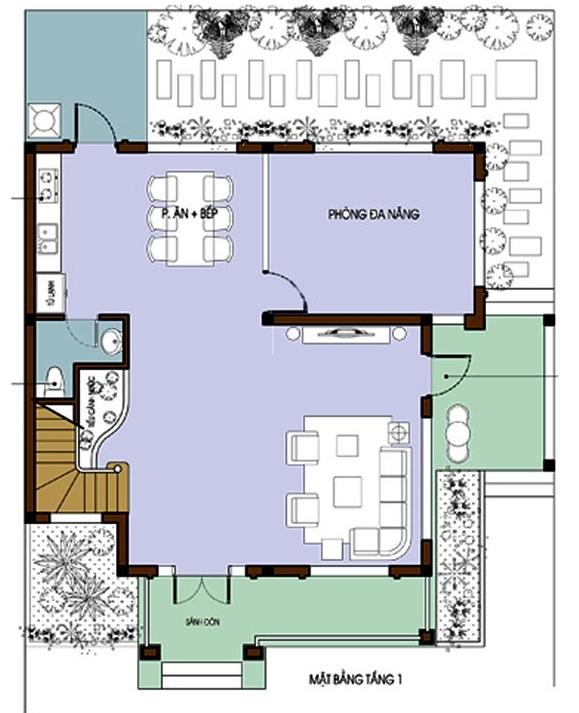 Mặt bằng bố trí nội thất tầng 1 biệt thự mái Thái