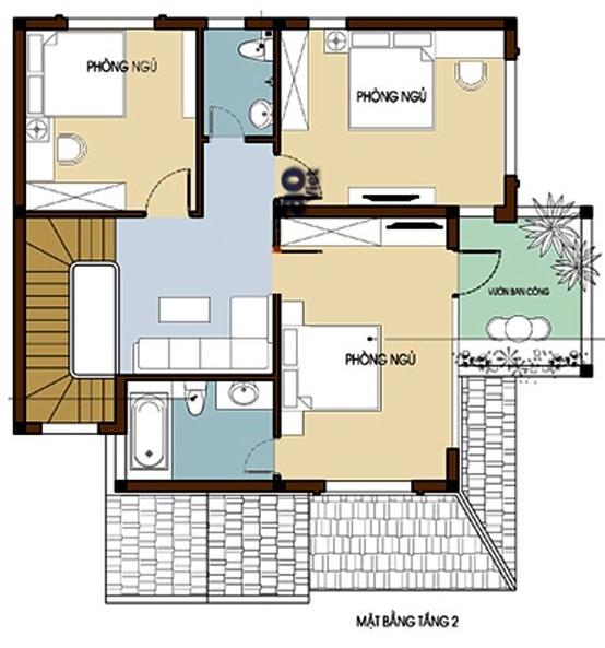 Mặt bằng bố trí nội thất tầng 2 biệt thự mái Thái