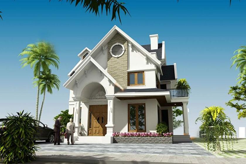 Phối cảnh 3D mẫu biệt thự 2 tầng mái Thái