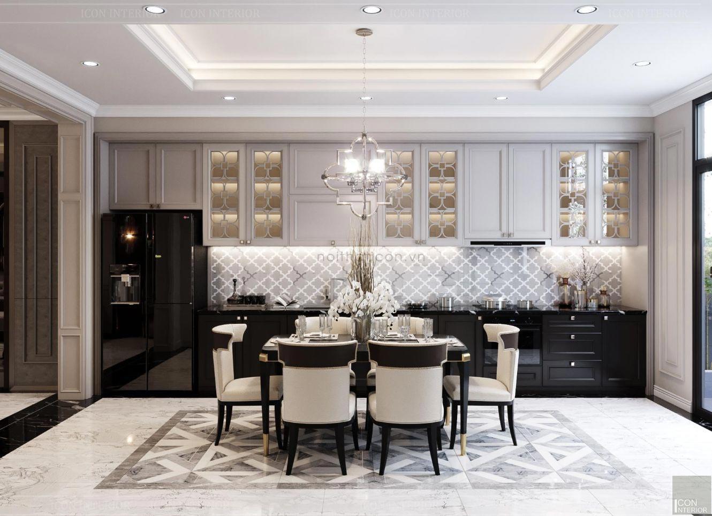 Không gian phòng bếp kết hợp phòng ăn rộng rãi, sử dụng thiết bị nội thất cao cấp.