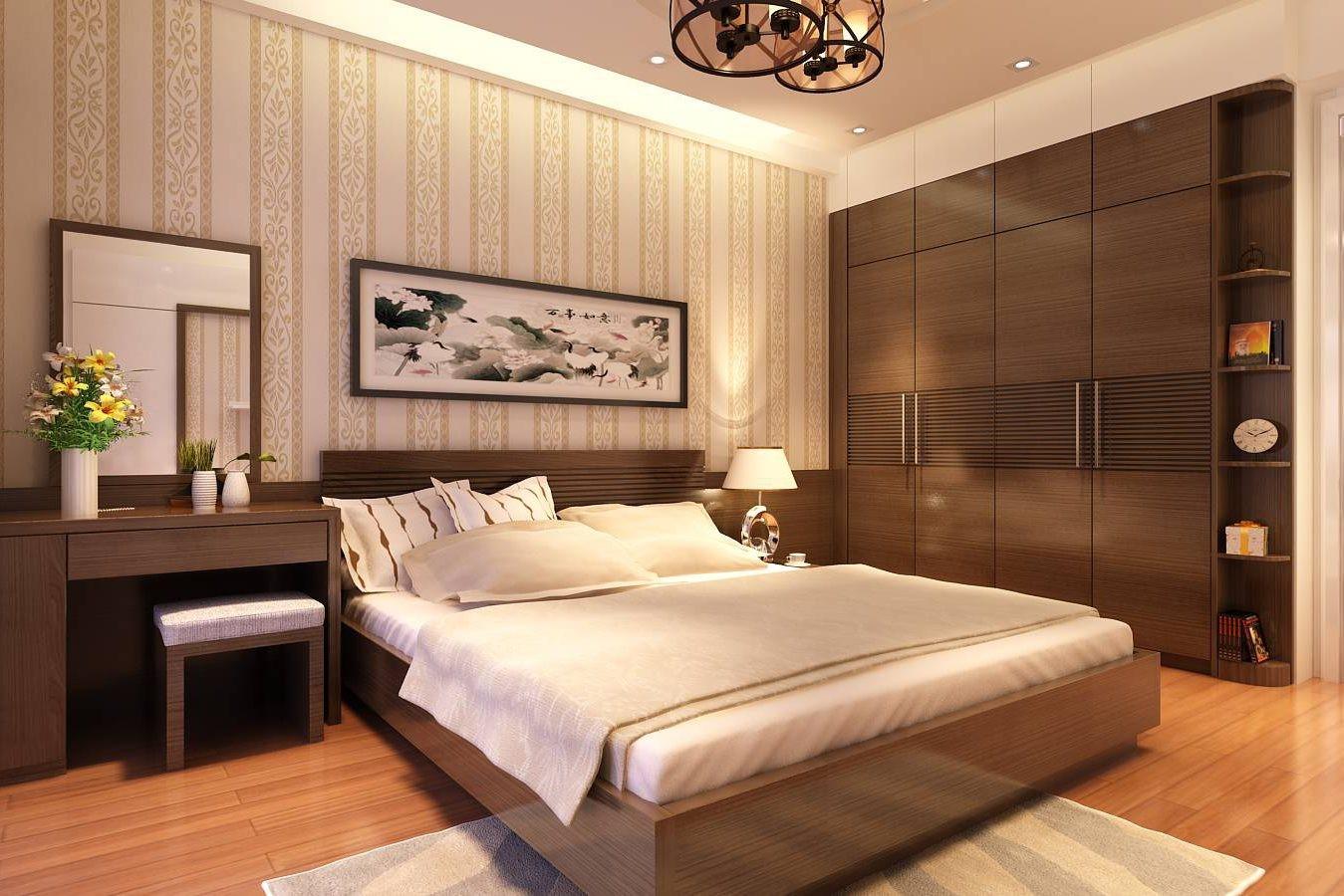 Phòng ngủ master của vợ chồng gia chủ đậm chất truyền thống với bảng màu nâu, be chủ đạo mang lại cảm giác bình yên và thư giãn.