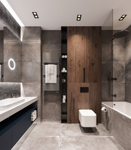 Phòng tắm - vệ sinh trong biệt thự 2 tầng mái Thái tông màu trắng xám hiện đại.