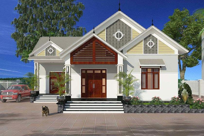 Phối cảnh 3D mẫu nhà mái Thái 1 tầng vùng nông thôn