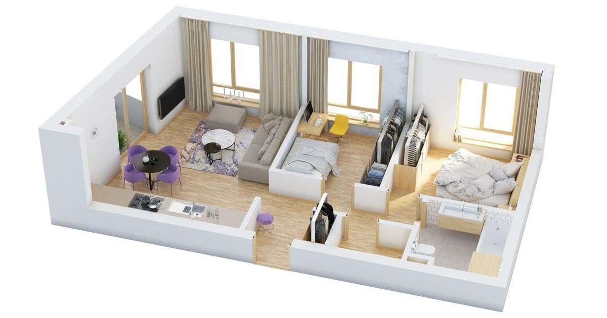 Phối cảnh không gian nội thất mẫu nhà 1 tầng 2 phòng ngủ