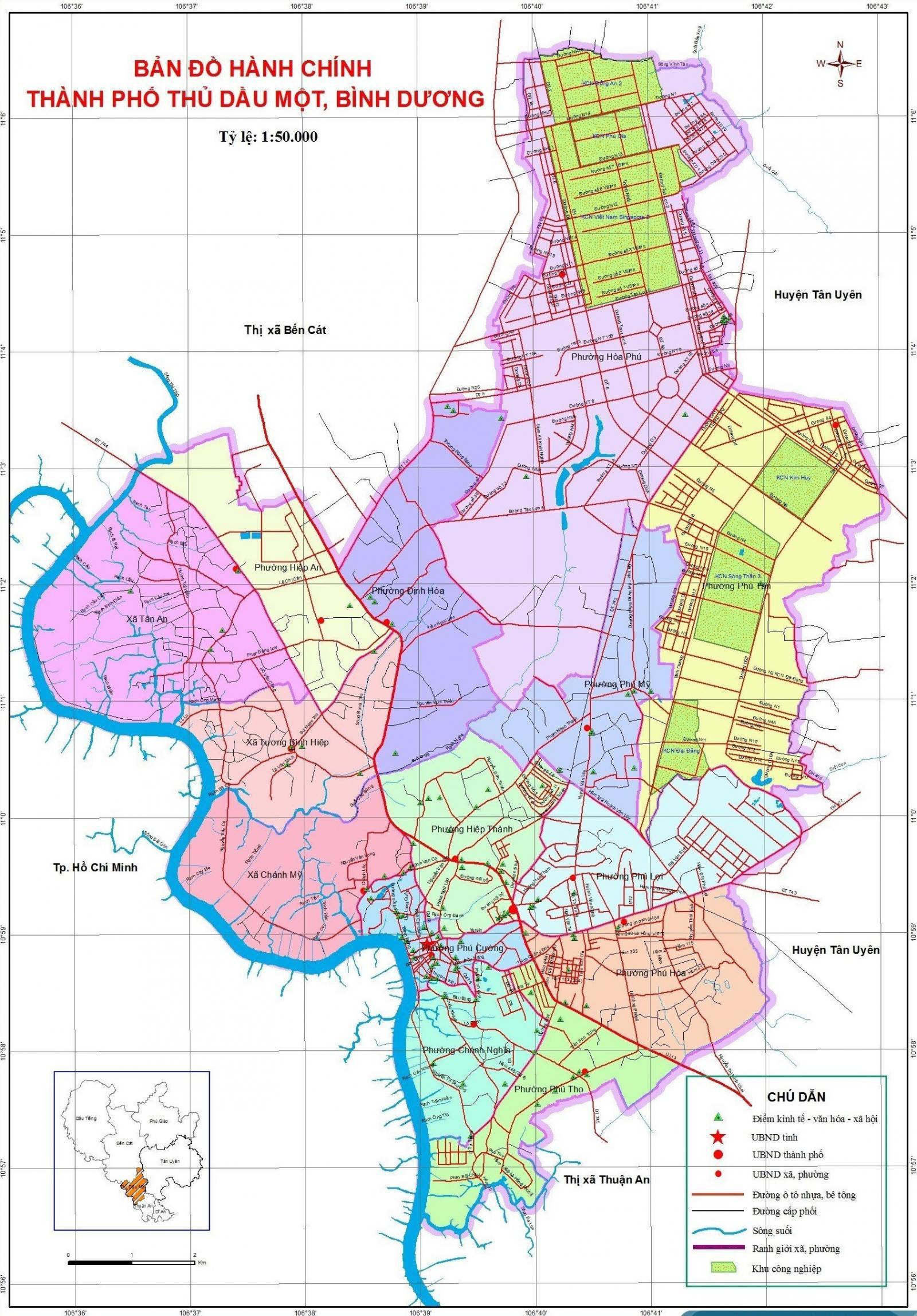 Bản đồ hành chính thành phố Thủ Dầu Một hiện nay
