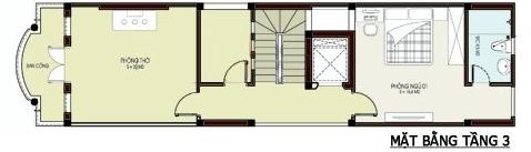 Mặt bằng thiết kế tầng 2 nhà ống