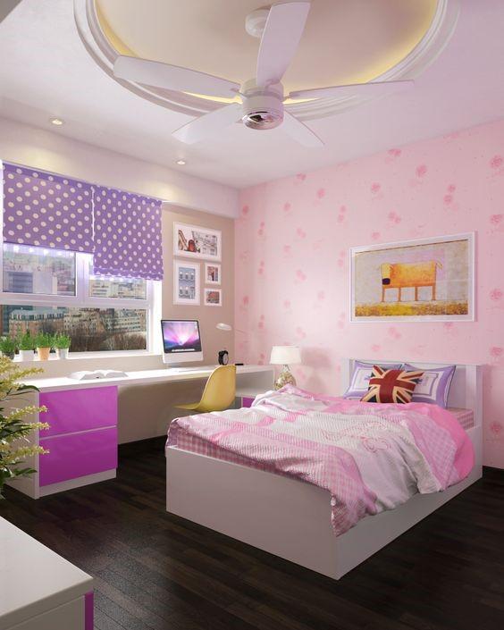 Phòng ngủ tích hợp góc học tập của cô con gái tuy không quá rộng rãi nhưng bài trí hết sức gọn gàng, tiện dụng, đảm bảo lưu thông dễ dàng.
