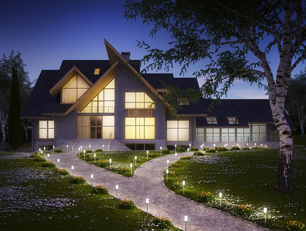 Đèn chiếu sáng tạo sinh khí cho sân vườn khi đêm xuống.