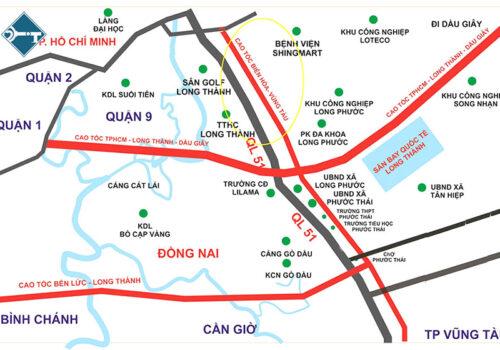 Đường cao tốc Biên Hòa - Vũng Tàu có hướng tuyến cắt ngang đường cao tốc TP.HCM - Long Thành - Dầu Giây và đường cao tốc Bến Lức - Long Thành 01