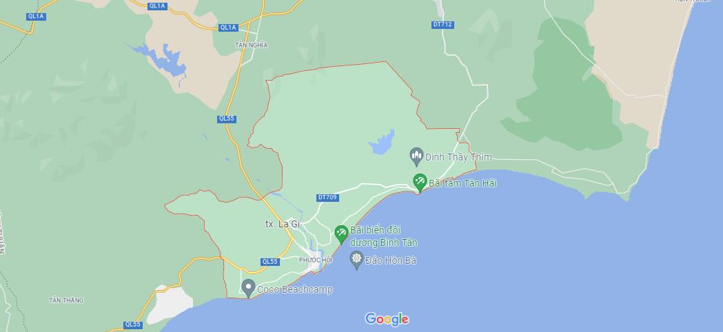 Vị trí thị xã Lagi (ảnh chụp Google Maps)