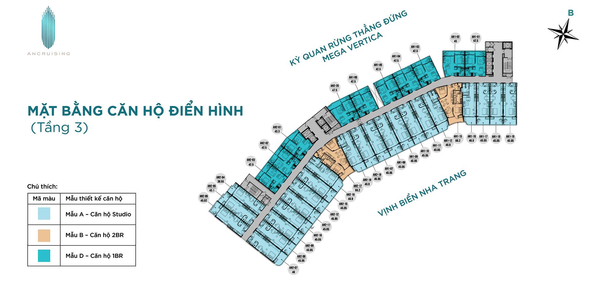Mặt bằng tầng 3 dự án ANCruising Nha Trang