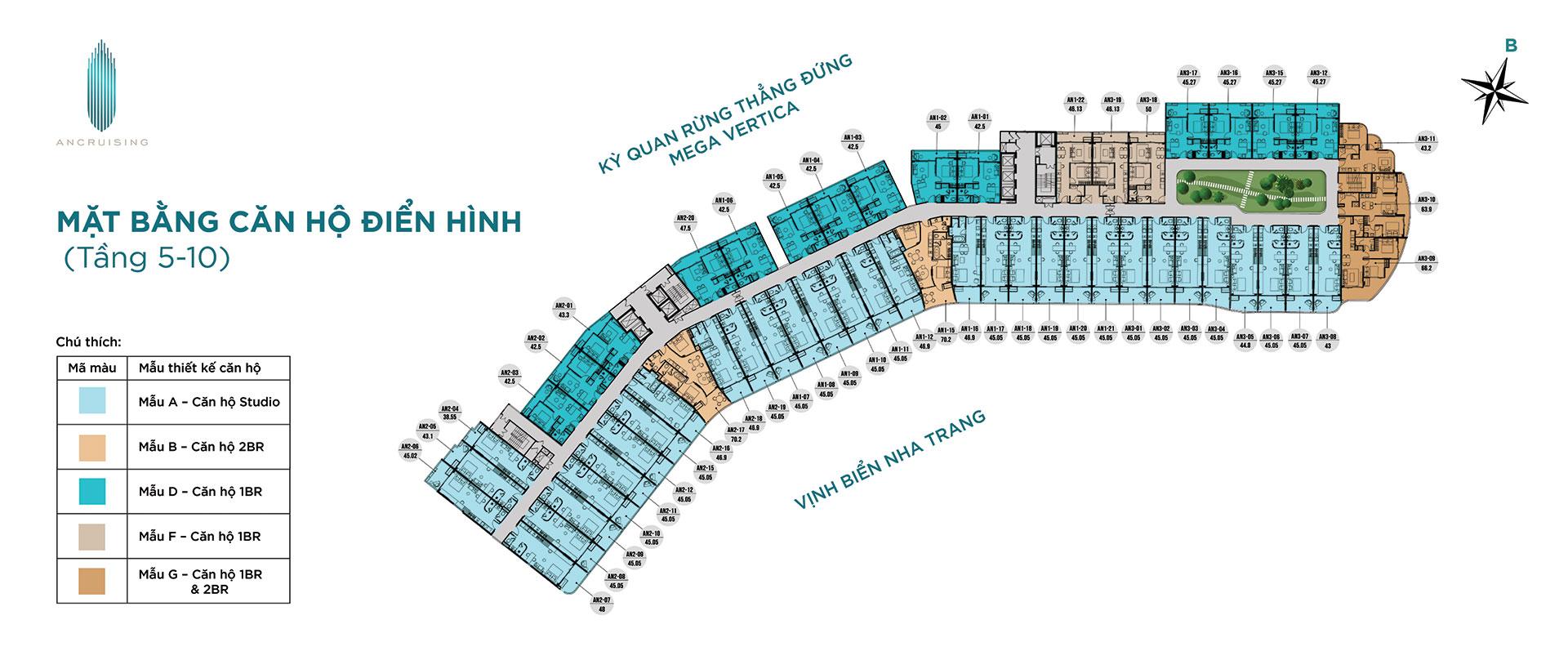 Mặt bằng tầng 5-10 dự án ANCruising Nha Trang