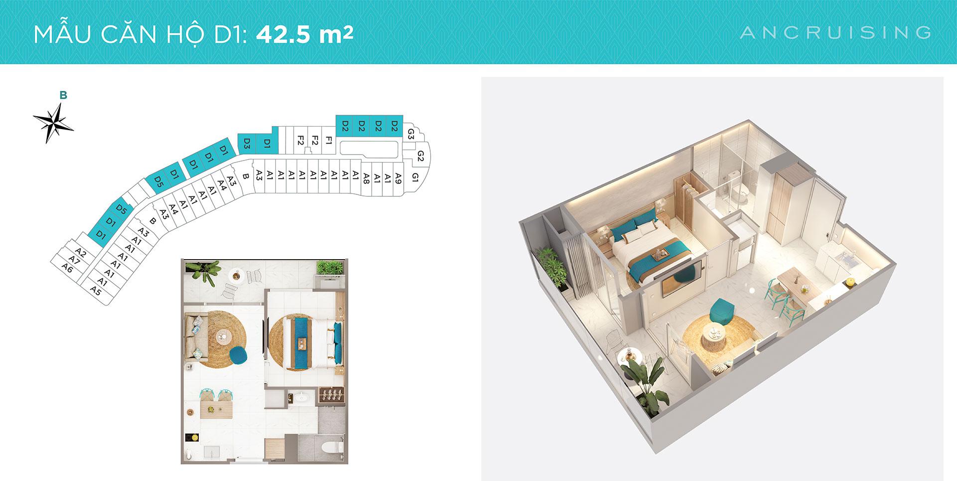 Mặt bằng căn hộ ANCruising Nha Trang 42.5m2